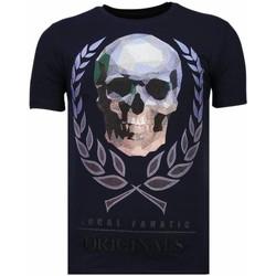 textil Herr T-shirts Local Fanatic Skull Originals Rhinestone N Blå