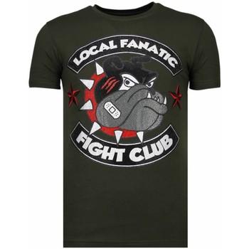 textil Herr T-shirts Local Fanatic Fight Club Spike Rhinestone K Khaki Grön