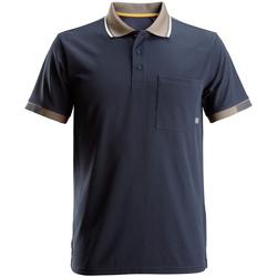 textil Herr Kortärmade pikétröjor Snickers SI076 Marinblått