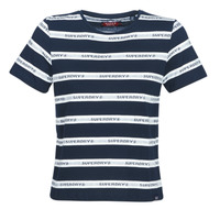 textil Dam T-shirts Superdry COTE STRIPE TEXT TEE Marin