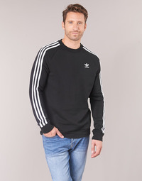 textil Herr Sweatshirts adidas Originals 3 STRIPES CREW Svart