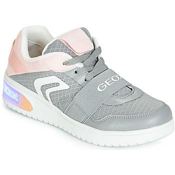 Skor Flickor Höga sneakers Geox J XLED GIRL Grå / Rosa / Led