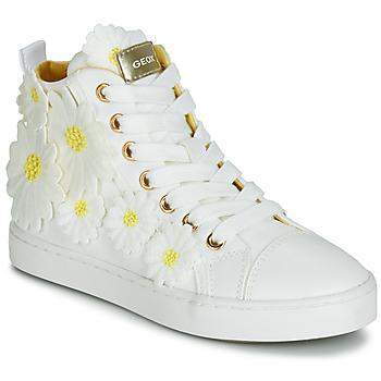 Skor Flickor Höga sneakers Geox JR CIAK GIRL Vit / Gul