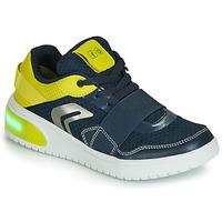 Skor Pojkar Sneakers Geox J XLED BOY Blå / Gul / Led