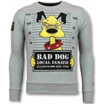 textil Herr Sweatshirts Local Fanatic Bad Dog Cartoon Tjock G Grå