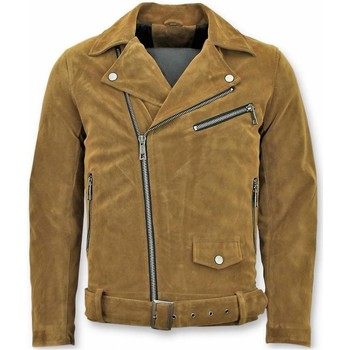 textil Herr Jackor Warren Webber Suede Biker Jacka Fake Leather Jacket Brun