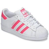 Skor Flickor Sneakers adidas Originals SUPERSTAR J Vit / Rosa