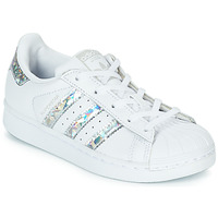 Skor Flickor Sneakers adidas Originals SUPERSTAR C Vit / Silver