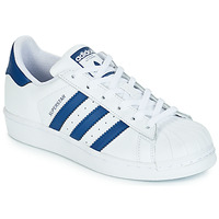 Skor Barn Sneakers adidas Originals SUPERSTAR J Vit / Blå
