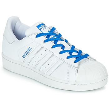 Skor Flickor Sneakers adidas Originals SUPERSTAR J Vit / Blå