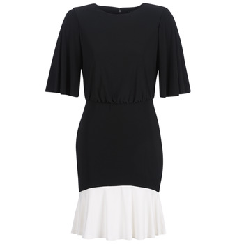 textil Dam Korta klänningar Lauren Ralph Lauren ELBOW SLEEVE DAY DRESS Svart / Vit