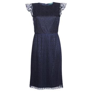 textil Dam Korta klänningar Lauren Ralph Lauren LACE CAP SLEEVE DRESS Marin