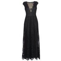 textil Dam Långklänningar Lauren Ralph Lauren CAP SLEEVE LACE EVENING DRESS Svart