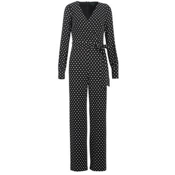 textil Dam Uniform Lauren Ralph Lauren POLKA DOT WIDE LEG JUMPSUIT Svart / Vit