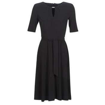textil Dam Korta klänningar Lauren Ralph Lauren 3/4 SLEEVE  JERSEY DAY DRESS Svart