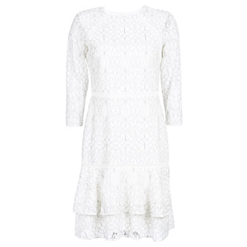 textil Dam Korta klänningar Lauren Ralph Lauren LONG SLEEVE-LACE DAY DRESS Vit / Svart