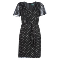 textil Dam Korta klänningar Lauren Ralph Lauren POLKA DOT-SHORT SLEEVE-DAY DRESS Svart