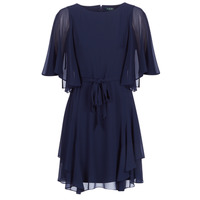 textil Dam Korta klänningar Lauren Ralph Lauren NAVY-3/4 SLEEVE-DAY DRESS Marin