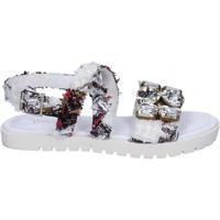 Skor Dam Sandaler Ioannis sandali bianco tessuto strass BT873 Bianco