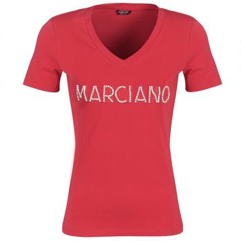 textil Dam T-shirts Marciano LOGO PATCH CRYSTAL Röd
