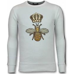 textil Herr Sweatshirts Tony Backer Flock Print Royal Bee Swea SWW Vit