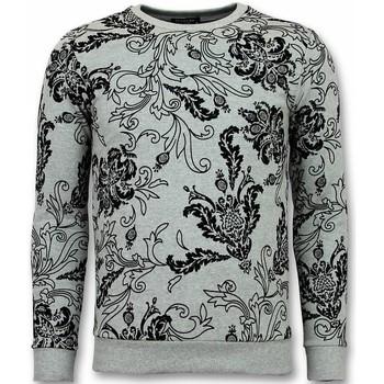 textil Herr Sweatshirts Tony Backer Flock Print Leaves UYW Grå