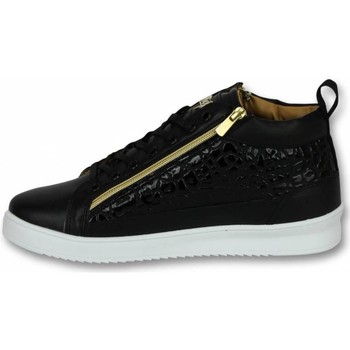 Skor Herr Höga sneakers Cash Money Märkesskor Sneakers Croc Black Gold Svart