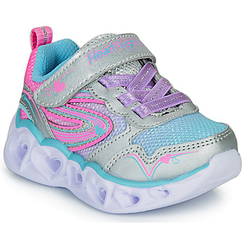 Skor Flickor Sneakers Skechers HEART LIGHTS Silver / Rosa / Led