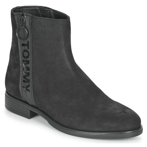 Skor Dam Boots Tommy Jeans TOMMY JEANS ZIP FLAT BOOT Svart