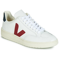 Skor Sneakers Veja V-12 LEATHER Vit / Blå / Röd