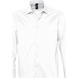 textil Herr Långärmade skjortor Sols BRIGHTON STRECH Blanco