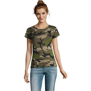 textil Dam T-shirts Sols CAMOUFLAGE DESIGN WOMEN Gris