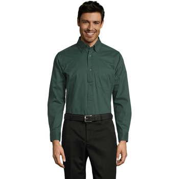 textil Herr Långärmade skjortor Sols BEL-AIR TWILL MEN Verde