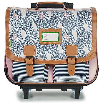 Väskor Flickor Skolväskor på hjul Tann's CREATION FLORE TROLLEY CARTABLE 41 CM Rosa