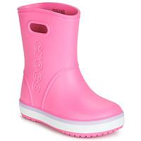 Skor Flickor Gummistövlar Crocs CROCBAND RAIN BOOT K Rosa