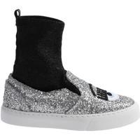 Skor Dam Höga sneakers Chiara Ferragni CF 2094 SILVER-BLACK argento