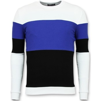 textil Herr Sweatshirts Enos Köp Stripe Swea F Vit, Blå