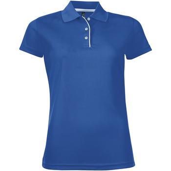 textil Dam Kortärmade pikétröjor Sols PERFORMER SPORT WOMEN Azul