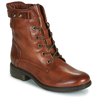 Skor Dam Boots Dream in Green ERVANE Cognac