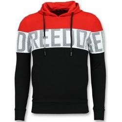 textil Herr Sweatshirts Enos Striped Hooded Swea Hoodie Met Svart, Röd