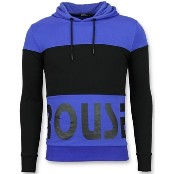 textil Herr Sweatshirts Enos Hoodie Heren Slim Fit Striped Hooded Crewneck Blauw Svart, Blå