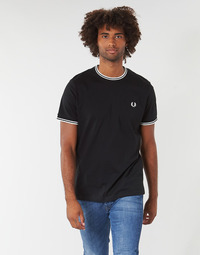textil Herr T-shirts Fred Perry TWIN TIPPED T-SHIRT Svart
