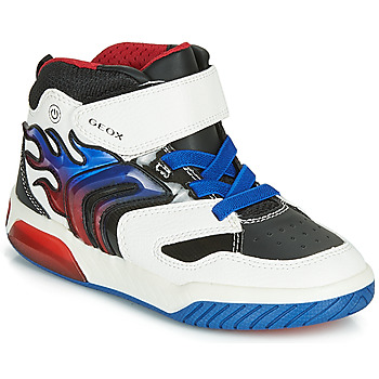 Skor Pojkar Höga sneakers Geox J INEK BOY Vit / Blå / Led