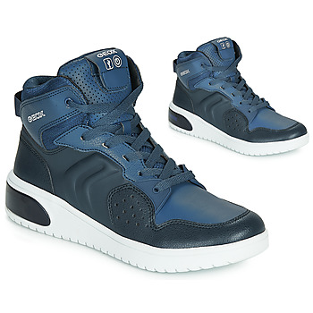 Skor Pojkar Höga sneakers Geox J XLED BOY Blå / Led