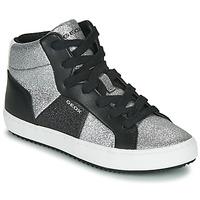 Skor Flickor Höga sneakers Geox J KALISPERA GIRL Svart / Silverfärgad