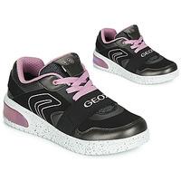 Skor Flickor Höga sneakers Geox J XLED GIRL Svart / Rosa / Led