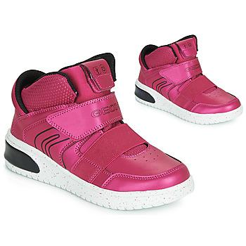 Skor Flickor Höga sneakers Geox J XLED GIRL Rosa / Fuchsia / Svart / Led