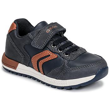 Skor Pojkar Sneakers Geox B ALBEN BOY Blå / Cognac
