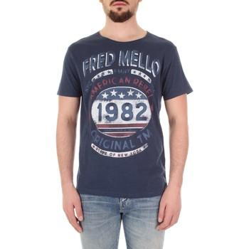 textil Herr T-shirts Fred Mello FM19S09TG Blu
