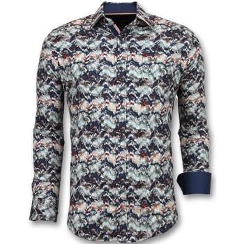 textil Herr Långärmade skjortor Tony Backer För Till Blå